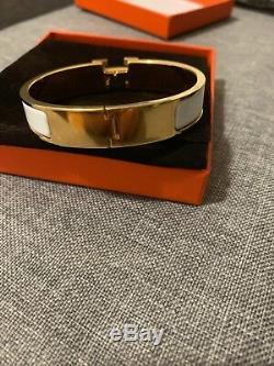 Hermes Clic-Clac H White Gold Luxury Enamel Bangle Bracelet PM