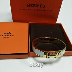 Hermes Enamel Bracelet 18K Gold Tone Brass Clic Clac H Classic Bangle white PM