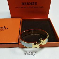 Hermes Enamel Bracelet Tone Brass Clic Clac H Classic Bangle white PM 18K Gold