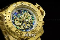 Invicta 70mm Full Sea Hunter III Swiss Movement Abalone Dial Gold Plated Watch