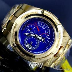 Invicta Bolt Zeus Tria Gold Plated Steel Blue 3 Swiss Mvt Dials 52mm Watch New