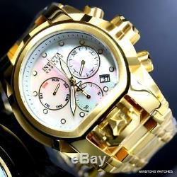 Invicta Reserve Bolt Zeus Magnum Gold Plated White MOP Swiss Mvt 52mm Watch New