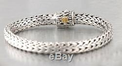 John Hardy 18K White Gold 925 Sterling Classic Pave Diamond Chain Bracelet