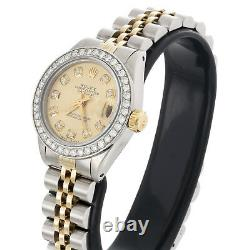 Ladies 18K / Steel Rolex DateJust Jubilee 6917 Diamond Watch Champagne Dial 1 CT