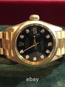 Ladies 18ct Gold Rolex Oyster Perpetual Factory Diamond Face 69278 26MM