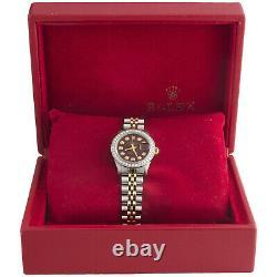Ladies 6917 Rolex DateJust Jubilee 18K Gold / Steel Diamond Watch Red Dial 1 CT