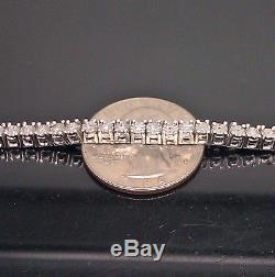 Ladies Diamond Tennis Bracelet White Gold Finish With Real Diamonds 8 inch