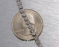 Ladies Estate 14K White Gold 1.89ctw Diamond Floral Cluster Tennis 7.00 Bracelet