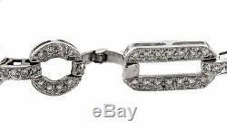 Ladies Estate 14K White Gold 3.74ctw Diamond 7.50 Fancy Link Chain Bracelet