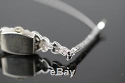 Ladies Hamilton 14K Solid White Gold Diamond Deco Cocktail Tennis Bracelet Watch