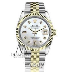 Ladies Rolex 31mm Datejust 2 Tone White MOP Mother Of Pearl 8+2 Diamond Watch