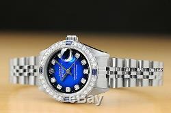Ladies Rolex Blue Vignette Diamond Sapphire Datejust 18k Gold & Steel Watch