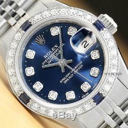 Ladies Rolex Datejust 18k White Gold Sapphire Diamond & Steel Quickset Watch