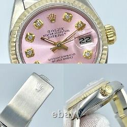 Ladies Rolex Datejust 26mm 6917 Pink Diamond Dial Steel & 18ct Gold Oyster