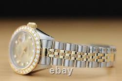 Ladies Rolex Datejust Factory Champagne Diamond Dial 2-tone Watch + Rolex Paper