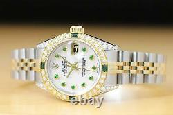 Ladies Rolex Datejust Mother Of Pearl Tsavorite Dial Diamond Quickset Watch