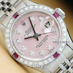 Ladies Rolex Datejust Pink Dial Ruby Diamond 18k White Gold & Steel Watch