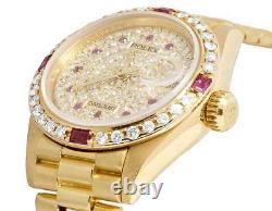 Ladies Rolex President Datejust 18K Yellow Gold 69178 Ruby Diamond Watch 3.85 Ct