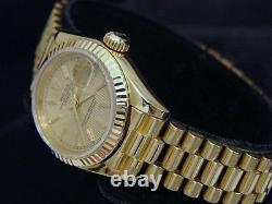 Ladies Rolex Solid 18K Yellow Gold Datejust President Watch Tapestry Dial 69178