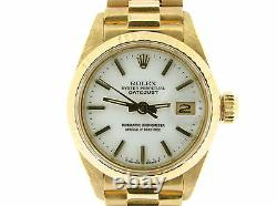 Ladies Rolex Solid 18K Yellow Gold Datejust President Watch withWhite Dial 6917