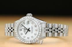 Ladies Rolex White Diamond Dial Datejust 18k White Gold & Stainless Steel Watch