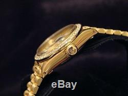 Lady Rolex SOLID 18K Yellow Gold Datejust President Diamond Bezel Dial Band 6517