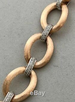 Large Link Vintage Bracelet 14k Rose & White Gold, 1.25 Car Diam, Ret Usd $4,200