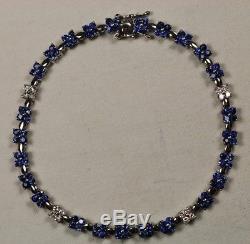 Levian Diamond Blue Sapphire 14k White Gold Bracelet 8 10.3 Grams