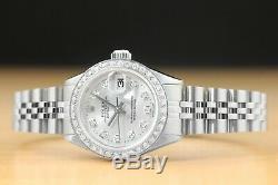 Lladies Rolex Datejust Silver Diamond 18k White Gold & Stainless Steel Watch
