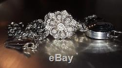Long 14kt White Gold Klein KLJCI Floral Flower Diamond Slide Bracelet Charm
