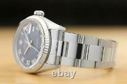 MENS ROLEX DATEJUST BLUE ROMAN 18K WHITE GOLD & SS WATCH withOYSTER BAND