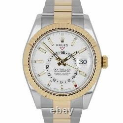 MINT Rolex Sky-Dweller 18K Two-Tone Gold Stainless Steel White 42mm Watch 326933