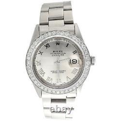 Men Rolex 36mm DateJust Diamond Watch Oyster Steel Band Silver Roman Dial 1.9 CT
