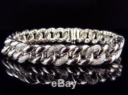 Men's 10k White Gold Miami Cuban Link 8.25 13MM VS2-Si1 Diamond Bracelet 3.0ct
