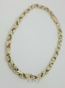 Men's 10k Yellow White Gold Two Tone Bullet Link Bracelet 9