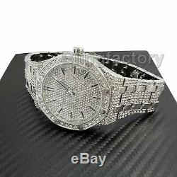 Men's Luxury Designer Style Bling White Gold PT Simulated Diamond Bracelet Watch
