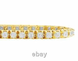 Men's Real 10K Yellow Gold Genuine Diamond 6MM Cluster Tennis Bracelet 2 CT 8.5