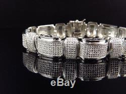 Men's White Gold Finish Sterling Silver Lab Diamond XL Statement Bracelet 8.75