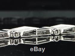 Mens 10K White Gold 5 ct. Diamond Bracelet Pave Tennis Designer Link 8.50 Inches