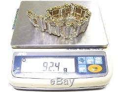 Mens 10k Yellow Gold 21.00ct Round Cut White Diamond Stunning Big Bracelet