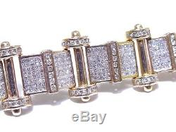 Mens 14k Rose Gold 15.00ct Round & Princess Cut White Diamond Bracelet