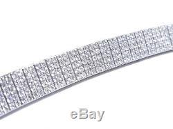 Mens 14k White Gold 10.50ct Round Cut Prong Set VS White Diamond Bracelet
