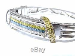Mens 14k White Gold Princess Cut White Blue & Yellow Diamond Bracelet 4.00ct