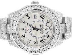 Mens 18K White Gold 326939 Rolex Sky Dweller 45mm VS Diamond Watch 40.55 Ct