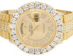 Mens 18K Yellow Gold Rolex President 36MM 18038 Day-Date Diamond Watch 12.5 Ct