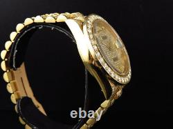 Mens 36 MM Rolex President 18038 18k Yellow Gold Day-Date with 19 Ct Diamond