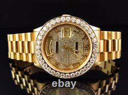 Mens 36 MM Rolex President 18038 18k Yellow Gold Day-Date with 6.5 Ct Diamond