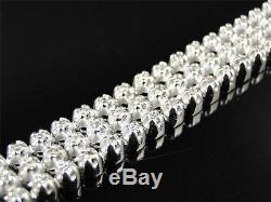 Mens 3 Row Toni 10k White Gold Genuine Diamond Bracelet Bangle 5.5 Ct