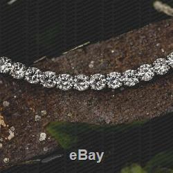 Mens 5CT (3MM) Round Cut Diamond Tennis Fashion Bracelet 14k White Gold Over