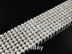 Mens 8 Row Toni 10k Solid White Gold Genuine 29 MM Diamond Bracelet Bangle 14 Ct